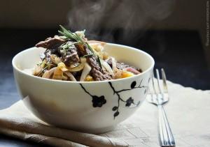 Beef Stir Fry over Polenta